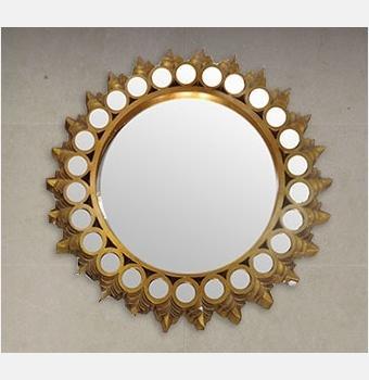 Зеркало в раме модерн Cedric Gold (Цедрик), Ø111 см
