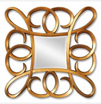 Зеркало в резной раме Coils Gold (Коилс), 91*91 см