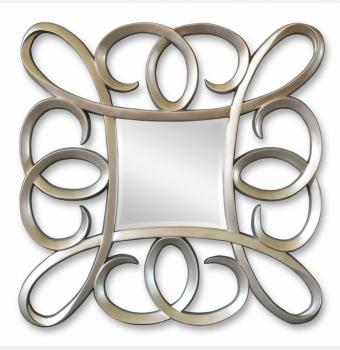 Зеркало в резной раме Coils Silver (Коилс), 91*91 см