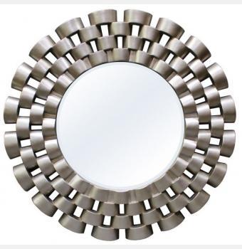 Зеркало в раме модерн Nexus Silver (Нексус), Ø91 см